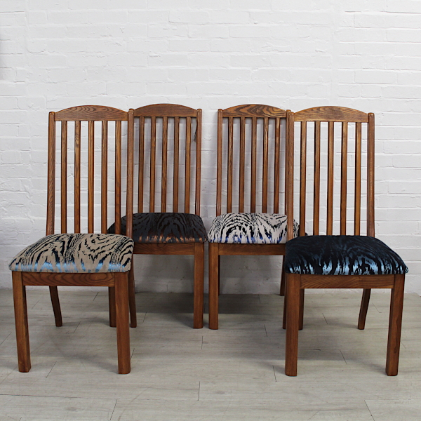Cool Set Of 6 Oak Dining Chairs In Metallic Velvet Fabric Home Interior And Landscaping Ferensignezvosmurscom